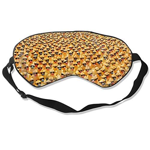 Máscara de sueño de seda de doble cara de lujo 100% y máscara de ojos súper suave y cómoda para viajes de siesta de meditación tamaño universal (pato de goma natural puro con gafas de sol)