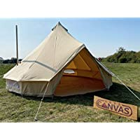 5m Bell Tent With Stove Hole & Fire Proof Canvas - Zipped In Groundsheet Cotton Canvas Garden Glamping Family Camping Tent
