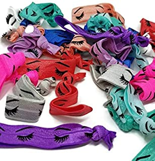 Lashes Hair Tie Set - Mix of Colors - 25 Count- Crease free, ends-no fray, great for events, weddings, party favors, valentines day
