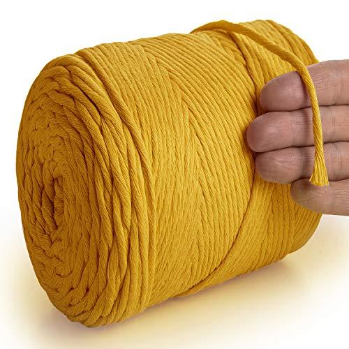MeriWoolArt - Corda in macramè naturale, 250 m, super morbida con 4 mm di rotazione semplice, in cotone riciclato e viscosa, colore: senape, 250 m