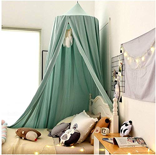 Kinderen bedhemel Ronde Dome Opknoping Curtain Net Zaal van het kinderdagverblijf Decorations Klamboe Play Tenten Pink 2 dmqpp (Color : Lake Green, Size : 65x250x400cm)