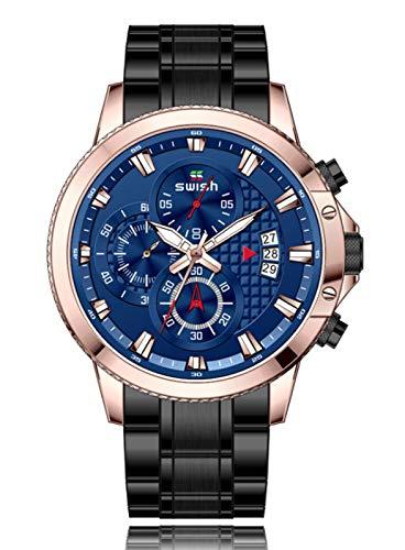 MLHXHX Reloj de hombre, correa de acero pequeño de tres pines de negocios impermeable reloj de los hombres de moda luminoso reloj de cuarzo azul rosa