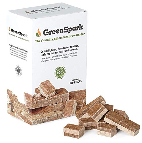 GreenSpark Fire Starter 160 Squares AllNatural Fireplace Campfire Fire Pit Grill BBQ Smoker Wood amp Pellet Stove Indoor amp Outdoor AllWeather Super Fast Lighting