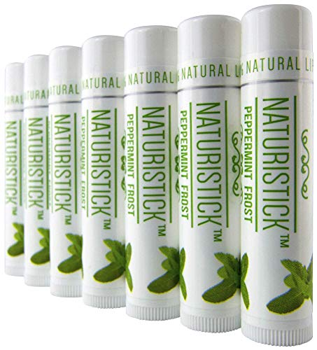 7Pack Peppermint Lip Balm Gift Set by Naturistick 100% Natural Ingredients Best Beeswax Chapstick for Dry Chapped Lips Made in USA