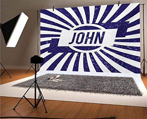 John 5x3 FT Vinyl Backdrop PhotographersCommon Masculine Given Name Design on Wavy Stripes with a Weathered Look Background for Party Home Decor Outdoorsy Theme Shoot Props