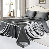 RUDONMG 4 Piece Dark Grey Satin Sheets Full Size Satin Bed Sheets Set Silky Satin Sheet with 1 Deep Pocket Fitted Sheet+1 Flat Sheet+2 Pillowcases