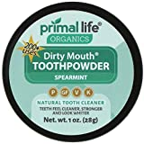 Dirty Mouth Tooth Powder for Teeth Whitening, Toothpaste Powder Teeth Whitener with Essential Oils and Bentonite Clay, 200 uses, Spearmint Flavor (1 oz) - Primal Life Organics