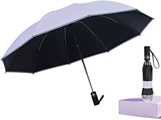 Junefish Inverted Windproof Umbrella with UV Coating,10 Ribs Auto Open and Close Travel Umbrella with Night Reflective Stripes for Safety (Purple)