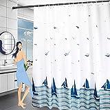 Wasserdicht Duschvorhang 180x200, Schwer Stoff Polyester Duschvorhänge Textil Waschbar mit Gewicht Saum,JorYoo Antischimmel Shower Curtains mit ABS Duschvorhangringe für Badewanne & Bathroom(Blau)