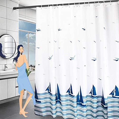 ORSJA Wasserdicht Duschvorhang 180x200, Schwer Stoff Polyester Duschvorhänge Textil Waschbar mit Gewicht Saum,Antischimmel Shower Curtains mit Hochwertiges Duschvorhangringe für Badewanne und Bathroom