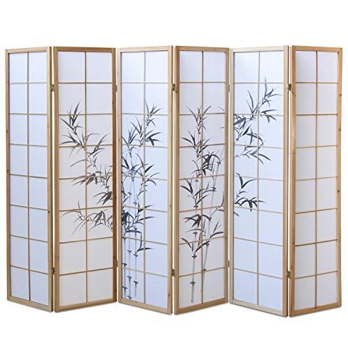 Homestyle4u 394, Paravent Raumteiler 6 teilig, Holz Natur, Reispapier Weiß Motiv Bambus, Höhe 175 cm