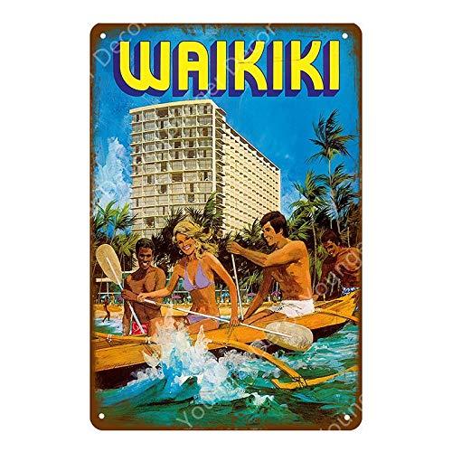 Cartel de Bar Hawaii Beach Surfing Party Decoración Retro Arte de la Pared Pintura Decoración Placa + Placa de hojalata Cartel de Chapa de Metal 20x30cm YD6892G
