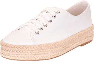 Liyuandian Womens Platform Espadrille Slip-on Sneakers Lace Up Low Cut Round Toe Flat Shoes