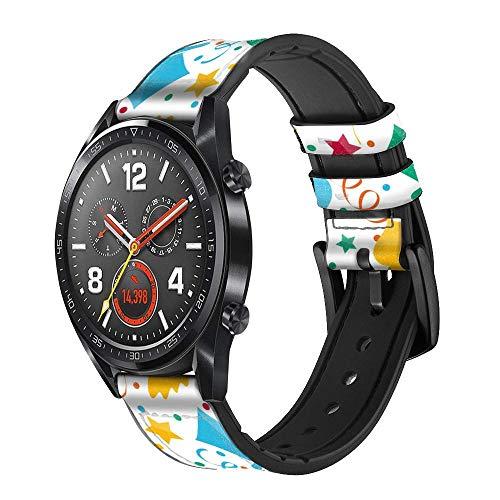 Innovedesire Carnival Pattern Correa de Reloj Inteligente de Cuero y Silicona para Wristwatch Smartwatch Smart Watch Tamaño (22mm)