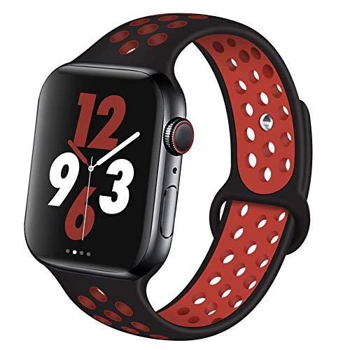 VIKATech Für Apple Watch Armband 42mm 44mm, Weiche Silikon Ersatz Armbänder für Apple Watch Armband Series 5/4/3/2/1, Sport, Edition, M/L, Schwarz/Red