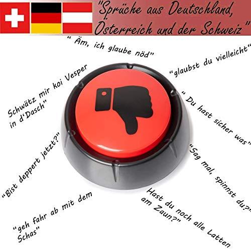 FilzGut Buzzer mit Sound Buzzer Knopf Sound Button Antwort Buzzer deutsche Sprüche für Spaß im Büro und Zuhause Gute Laune Button und Stresskiller lustige Antworten Nein-Knopf