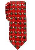 Retreez Herren Schmale Gewebte Weihnachten Krawatte Weihnachtsbaum 6 cm - rot,