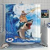DESIHOM Funny Cat Riding Shark Shower Curtain Cat Shot Gun Shower Curtain Cool Animal Surf Wave Shower Curtain Blue Ocean Shower Curtain Polyester 72x72 Inch