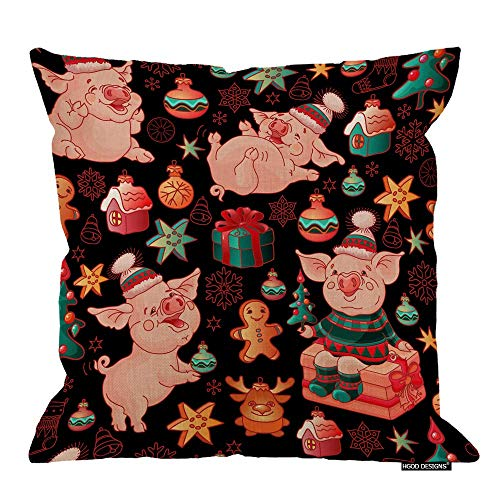 AOOEDM Pig Pillow Cover,Funny Cartoon Pigs Colorful Toys Gift Boxes and Christmas Trees Cotton Linen Cushion Covers Home Decorative Throw Pillowcases 18x18inch