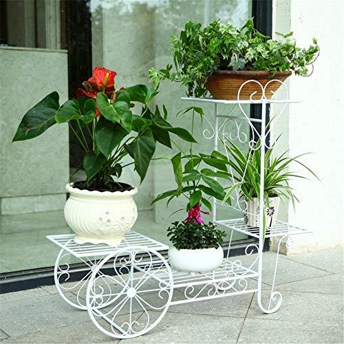 QHGao Bloemstandaard van smeedijzer, rond, hoge capaciteit, voor binnen en buiten, plank voor bloempotten, 4 niveaus, met opbergvak, eenvoudig te voet