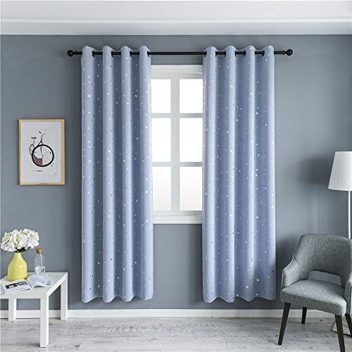 MANGATA CASA Blackout Curtains with Night Sky Twinkle Star 2 Panels for Kids Room,Thermal Insulated Grommet Bedroom Drapes (Light Blue,52x84in)