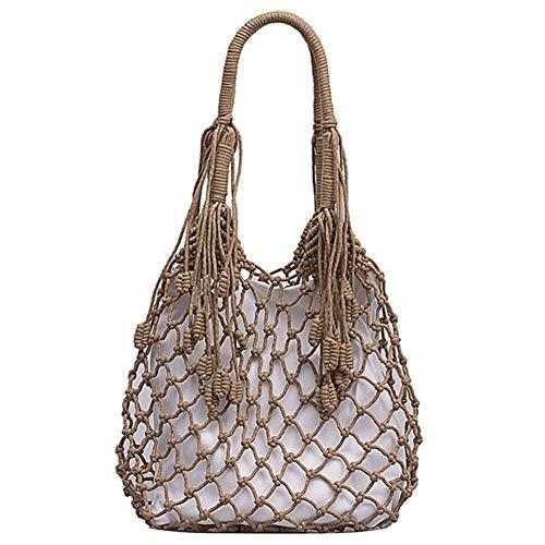 Bolsos de las mujeres de malla de cuerda Net Bolsas Ins elegante playa del verano bolsas de algodón ahueca hacia fuera el bolso de la cesta compuesta Ocio Paja Bolsa for la niña ( Color : Khaki )