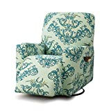 TIKAMI Recliner Slipcovers Stretch Printed Chair Covers with Side Pocket Washable Lazy Boy Furniture Protector(Green Print)