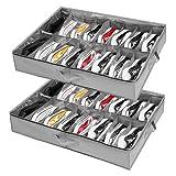 Organizador Zapatos debajo Cama 2 Pcs, para 32 Pares de Zapatos, Almacenaje Zapatos bajo Cama y Organizar Zapatos para Parte Superior del Armario, Cajas para Guardar Zapato con Ventana Transparente