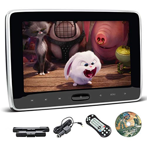 XTRONS 10.1 Inch Car DVD Player Portable Car Headrest CD Player for Kids with 2 Mounting Brackets Supports HDMI Input, USB SD, AV Out & AUX in, Region Free, IR FM, 32 Bits Game