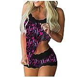 HCOO Seiden Nachthemden Nachtwäsche Damen Pyjama Ouvert Sommer Kleider Jugendlich Leoparden Nachtwäsche Push Up Unterwäsche Damen Reizwäsche Damen (B1- Lila,M)