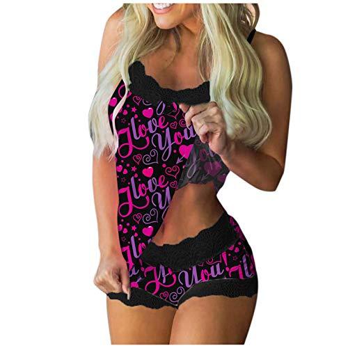Damen Pyjama Set Sexy Nachtwäsche,Kurz Schlafanzug mit Shorts, Nachtwäsche Set Zweiteilige Nachthemd Sexy Kleider für Frauen Spitzen Unterwäsche Kostüm Minirock Sleepwear