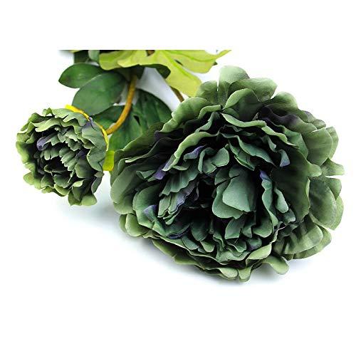 Artipistilos® Vara De 2 Peonias De Tela - Verde Oscuro - Flores