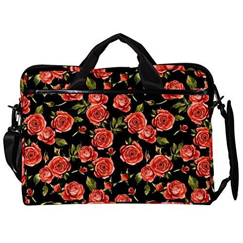 Wildflower Rose Flower Laptop Messenger Bag Zipper Notebook Computer Sleeve Case Compatible 14-15.4 Inch Laptop