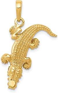 14k Yellow Gold Moveable Alligator Pendant Charm Necklace Animal Crocodile Man Fine Jewelry Gift For Dad Mens For Him
