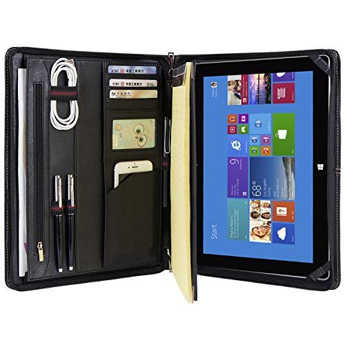 Genuine Leather Business Portfolio Professional Organizer Letter Size A4 Document Folder Notepad Padfolio Case with Zipperd Closure, for Microsoft Surface Pro 7/Pro 6/ Pro 5/ Pro 4