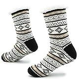 Calcetines Hechos Punto de la Zapatilla para los Hombres con los Deslizadores de la Cama de la Capa de Las Lanas para el Modelo Noruego del resbalón del Hombre 41-44 (Gris Claro, Blanco y Negro)