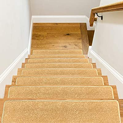 "Stair Treads Carpet Non Slip Indoor,8"" X 30"",Set of 13,Direct Adhesion with No Need for Tape,Safety Slip Resistant for Kids,Elders and Dogs,Pure Color (13, Beige)"