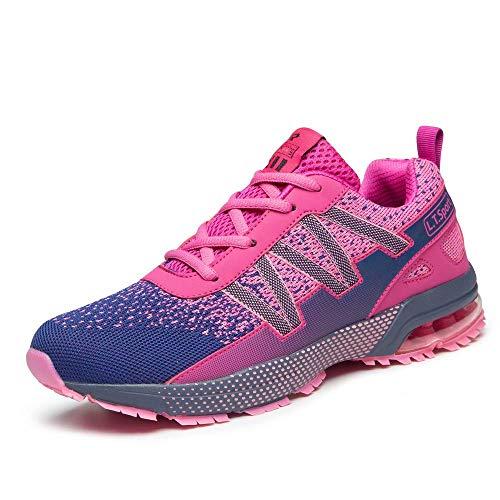 Straßenlaufschuhe Herren Damen Laufschuhe Fitness Turnschuhe Sneakers Air Sportschuhe rosa lila(41 EU)