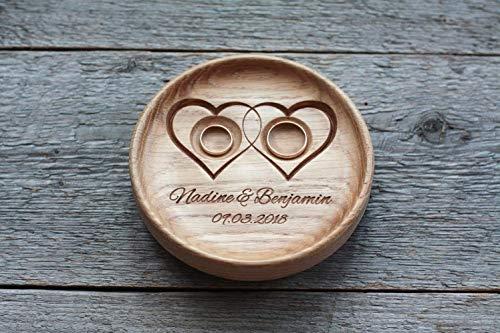Ringkissen Hochzeit Holz mit gravierten Namen und Datum, Ringschale, Ringträger für die Hochzeit