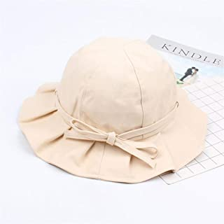 ZWHMZ Fisherman hat Female Spring and Summer New Soft Sister Bow Basin hat Japanese Simple Solid Color Student Wild Travel Visor (Color : Beige, Size : Adjustable)