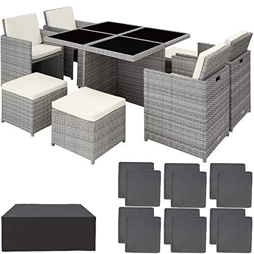 TecTake 800857 Set di Mobili da Giardino, Resistente Rattan Sintetico, Alluminio Arredamento, Set 4 Sedie +Tavolo +4 Sgabelli, Involucro Protettivo (Grigio Chiaro)