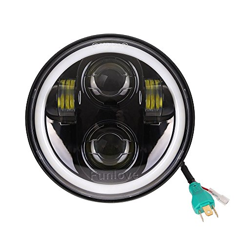 5 3/4 5.75 Inch LED Headlight Halo with DRL for Harley Davidson Motorcycles