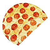 CACY Pizza Blanket Double Sided Burrito Blanket 60 inches Giant Flour Tortilla Blanket, Soft and Comfortable Novelty Taco Blanket for Adult and Kids, 285 GSM Flannel Blanket Funny Blanket