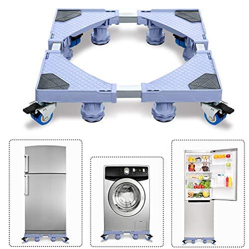 Aufun Waschmaschinen-Untergestell Verstellbare Beweglich Sockel, Podeste & Rahmen für Waschmaschinen, Trockner und Kühlschrank (L&B 45-75 cm, H 11-13 cm Einstellbare), MAX 300kg, 8 Füße + 4 Räder