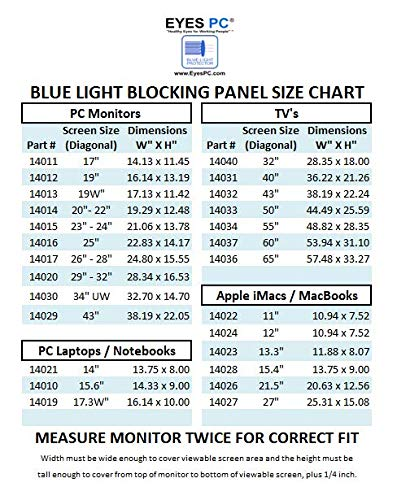 EYES PC blue light screen protector panel for 26