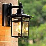 Retro Wandlampe-Antike Außenwandleuchte E27 Gartenlampe Retro Antike Wandleuchte mit Glaslampe Abdeckung Outdoor Lampe Wasserdichte Tür Balkon Villa Außenlampe-schwarz