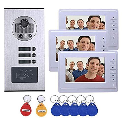 3 Kits de Intercomunicador de Videoportero a Prueba de Agua para Familia de Apartamentos 3 Monitores de 7 Pulgadas + Cámara RFID IR-Cut HD 1000TVL con 3 Botones