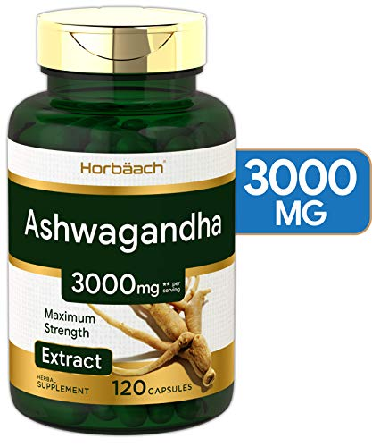 Ashwagandha Capsules | 3000 mg | 120 Count | Maximum Strength | Non-GMO & Gluten Free | by Horbaach
