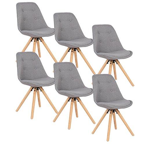 WOLTU® BH54gr-6 6 x Esszimmerstühle 6er Set Esszimmerstuhl, Sitzfläche aus Leinen, Design Stuhl, Küchenstuhl, Holzgestell, Grau