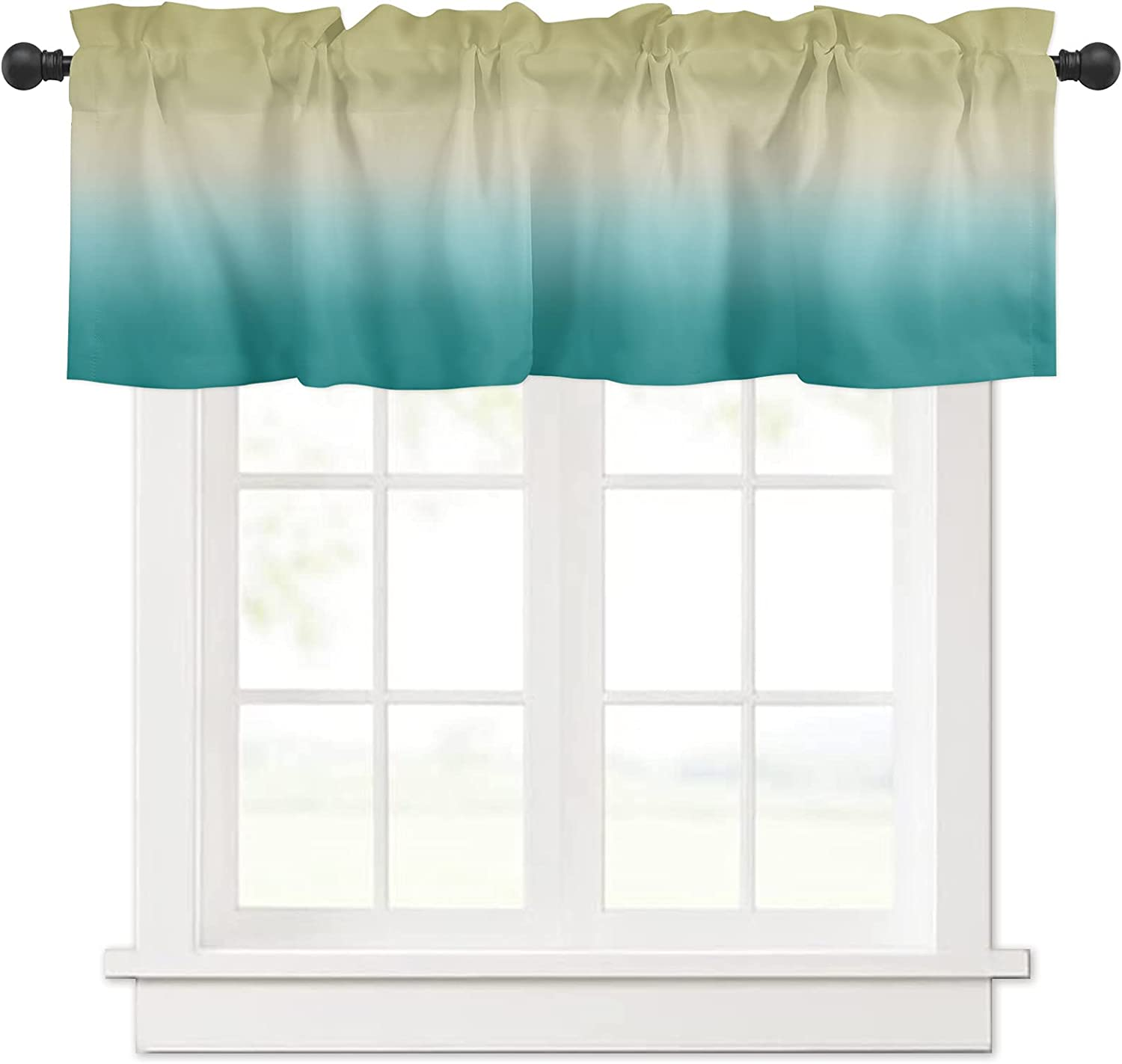 Ombre Credence Yellow Turquoise Cyan Gradient Curtain for Window Valances Bargain sale
